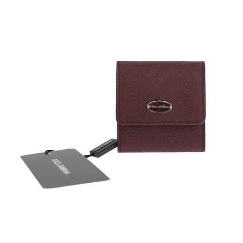 Dolce & Gabbana Bordeaux Dauphine Leather Key Men's Wallet - One Size