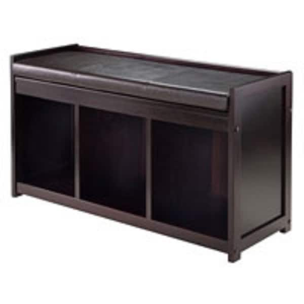 "20.75"" Espresso Brown Storage Bench with Cushion - N/A"