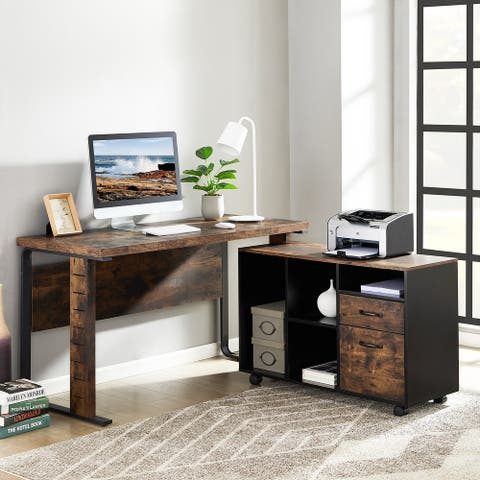 L-Shaped Desk, Reversible Executive Office Desk with Letter Size File Cabinet for Home Office