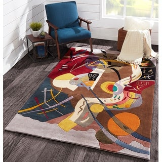 """Momeni New Wave Multicolor Hand-Tufted and Hand-Carved Wool Rug (5'9 X 5'9 Round) - 5'9"""" x 5'9"""" Round"""