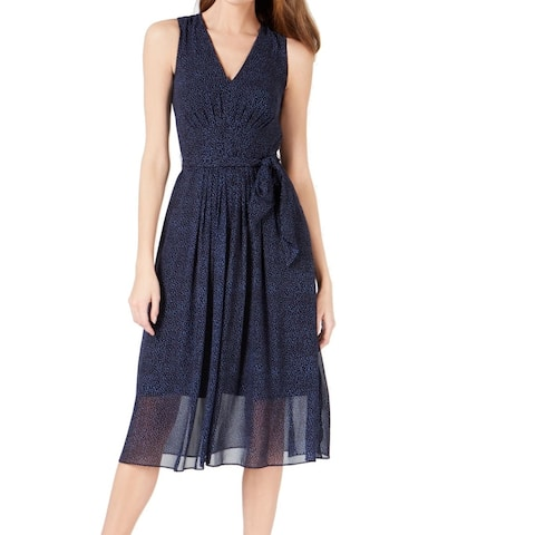 Anne Klein Women's Dress Navy Blue Size 10 A-Line Belted Pebble Print