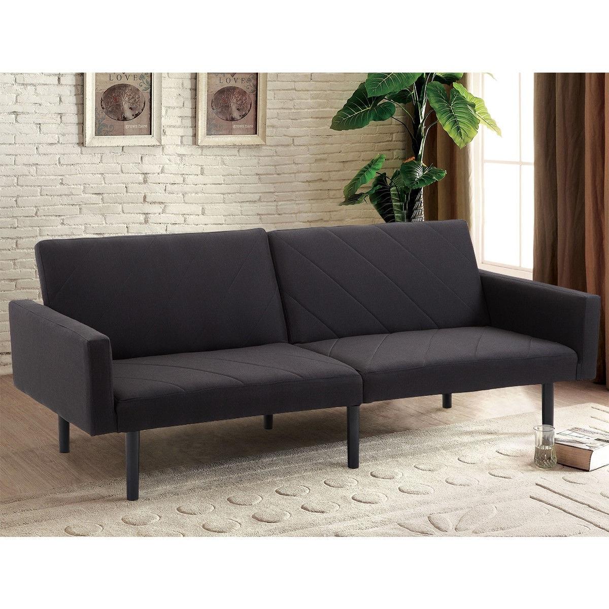 Costway Futon Sofa Bed Convertible Recliner Couch Splitback Sleeper w/Wood  Legs Black