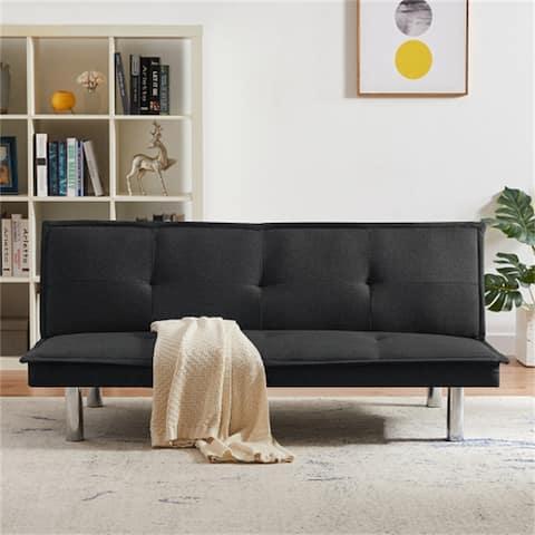 [Pre-Sale]Fabric Folding Futon Sofa Bed With 3 Adjustable Positions,Metal Legs,Foam Seat&Back,Black