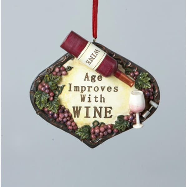 """4"""" Tuscan Winery """"Age Improves with Wine"""" Christmas Plaque Ornament"""