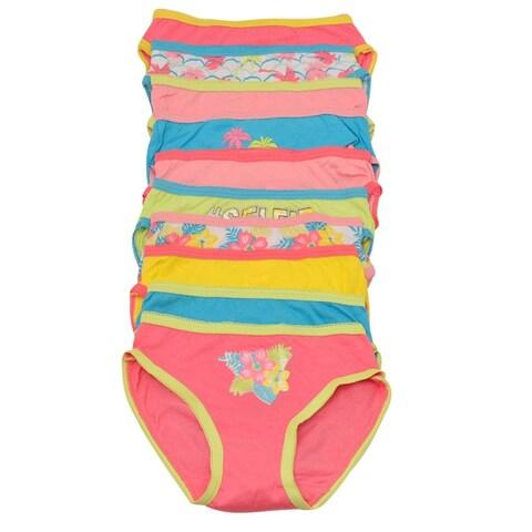Sweet n Sassy Little Girls Multi Color Flower Print 10 Pc Underwear Pack