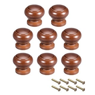 Cabinet Round Pull Knobs 27mm Dia Bedroom Kitchen Dark Red Elm Wood 8pcs - 27mmx25mm(D*H)-8pcs