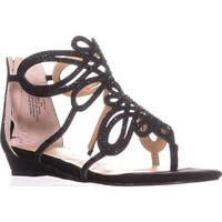TS35 Laylan Flat Strappy Thong Sandals, Black