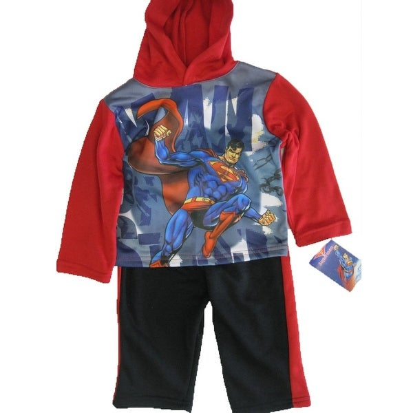 Marvels Baby Boys Red Blue Superman Print Hooded Top Pants Outfit 12-24M