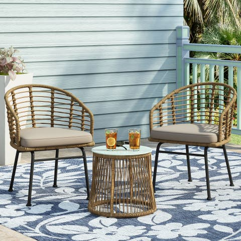 Randy Outdoor Wicker 2 Seater Chat Set by Christopher Knight Home