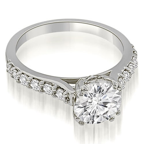0.75 cttw. 14K White Gold Cathedral Round Cut Diamond Engagement Ring