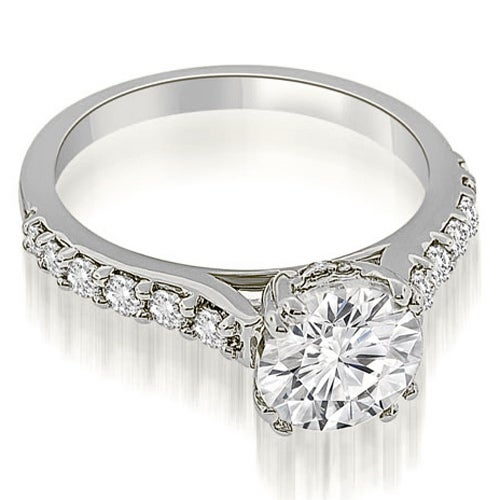 1.25 cttw. 14K White Gold Cathedral Round Cut Diamond Engagement Ring