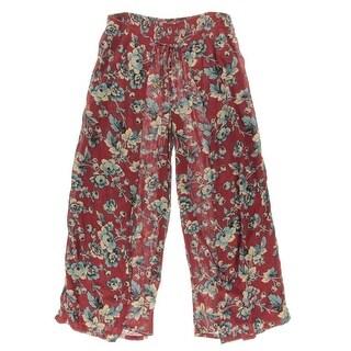 Denim & Supply Ralph Lauren Womens Floral Print Tie Waist Wide Leg Pants