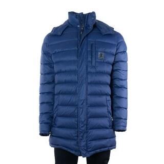 Roberto Cavalli Mens Solid Navy Long Puffer Jacket
