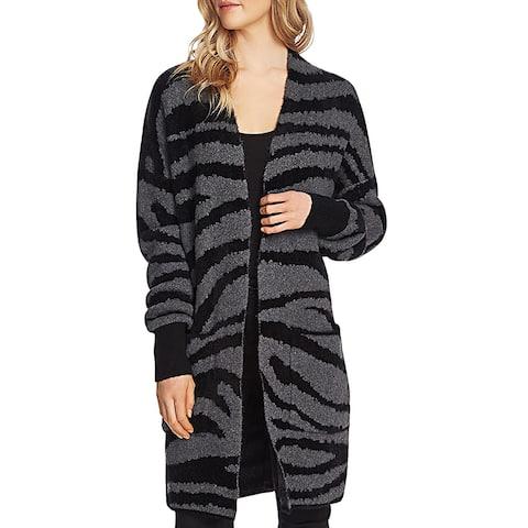 Vince Camuto Womens Sweater Zebra Print Eyelash - Medium Heather Grey