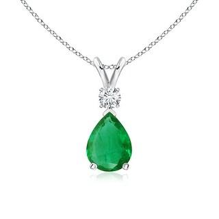 Angara Pear Emerald Teardrop Pendant Necklace with Diamond - Green/White