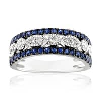 0.99Ct September Birthstone Blue Sapphire & Natural Diamond Designer Wedding Band - White G-H/Blue Sapphire