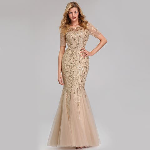 9e7f4ac538b7b Ever-Pretty Womens Tulle Sequin Fishtail Elegant Long Formal Evening Party  Prom Dress 07707