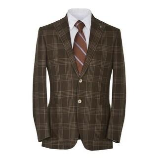 Eidos Napoli By Isaia Tipo Brown Plaid Two Button Sportcoat Blazer 38 Regular