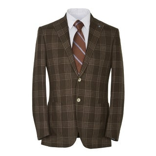 Eidos Napoli By Isaia Tipo Brown Windowpane 2-Button Sportcoat 42 Regular 42R