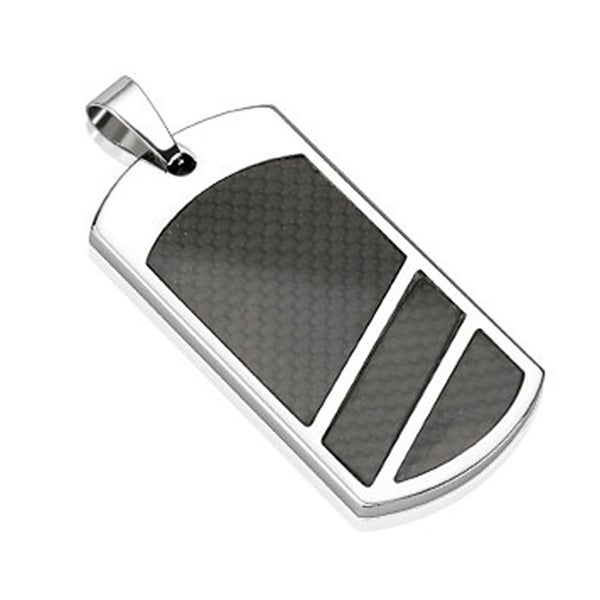 Divided Black Carbon Fiber Inlay Dog Tag Stainless Steel Pendant (24 mm Width)