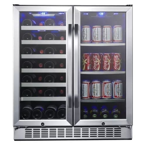 EdgeStar CWB2886FD 30 Inch Wide 28 Bottle 86 Can Capacity Freestanding Dual Zone Wine Cooler and Beverage Center