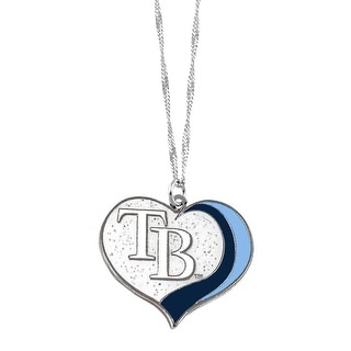 Tampa Bay Rays MLB Glitter Heart Necklace Charm Gift
