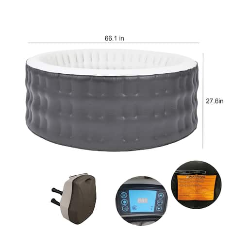 ALEKO Round Inflatable Jetted Hot Tub Spa with Cover