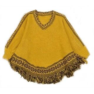 QZUnique Women's Batwing Sleeve Knit Poncho Cape V Neck Loose Sweater