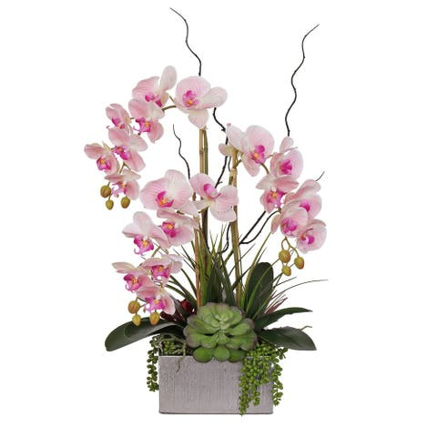 Real Touch Pink Orchid and Succulent Arrangement in Square Silver Pot - 17W x 11D x 19.75H