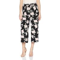 Kensie Black Women's Small S Floral Wide Leg Cropped Stretch Pants