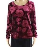 Eyeshadow Purple Women's Size Medium M Velvet Floral Knit Top