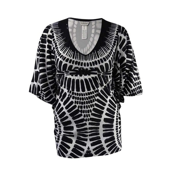 4a99367d05c32 Shop Trina Turk Women s Algiers Print Cover-Up Tunic - Black - Free  Shipping Today - Overstock - 21491095