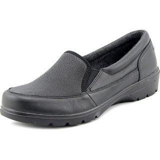 Skechers Concerts Women Round Toe Leather Black Loafer