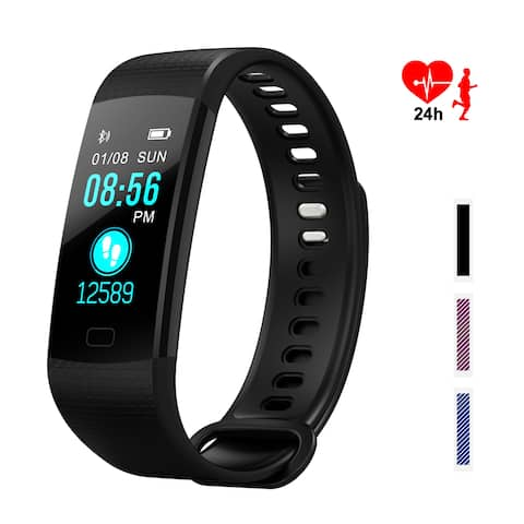 Color Screen Fitness Tracker - IMAGE Bluetooth Waterproof Bracelet w/ Heart Rate Monitor & Step Counter, Black