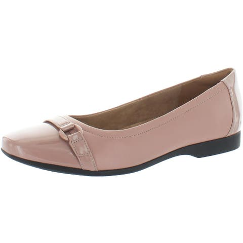 Clarks Unstructured Women's Un Darcey Go Leather Slip On Ortholite Ballet Flat - Dusty Pink Combination