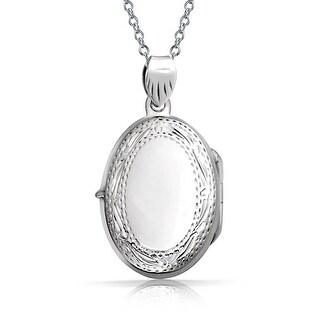 Bling Jewelry Vintage Style Engraved Oval Locket Sterling Silver Pendant