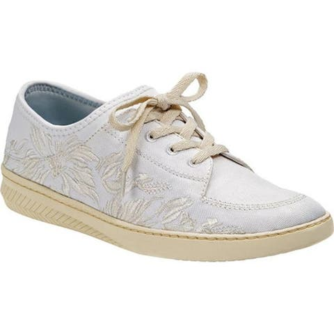 Bare Traps Women's Yalora Embroidered Sneaker White Jane Fabric