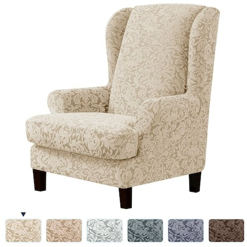 Subrtex Stretch Jacquard Damask 2-Pieces Wingback Armchair Cover
