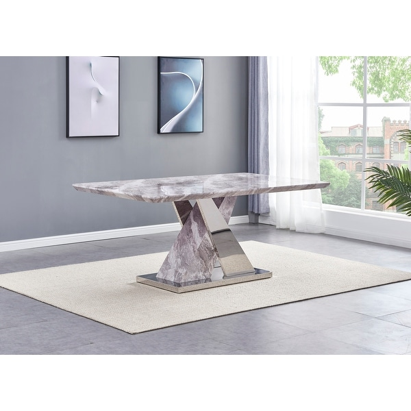 Best Quality Furniture Faux Marble Dining Table with X-Base - Table Only. Opens flyout.
