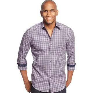 Tasso Elba Lezcano Check Plaid Shirt Purple and Grey Combo Medium 15 - 15.5