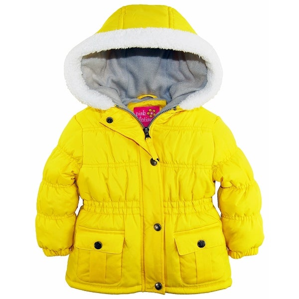 5845a9e181f Pink Platinum Baby Girls Sherpa Trim Hood Fleece Lined Winter Puffer Jacket  Coat
