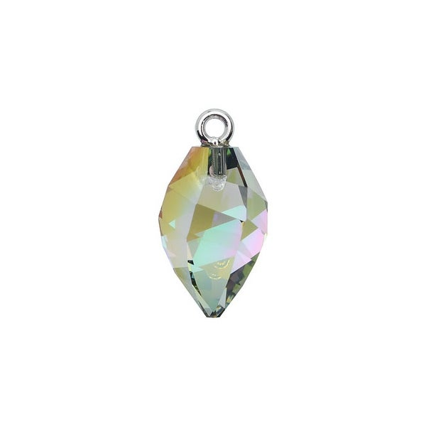 Swarovski Elements Crystal, 6541 Twisted Drop Pendant W/ Bail 14.5mm, 1 Pc, Paradise Shine / Rhodium Plated