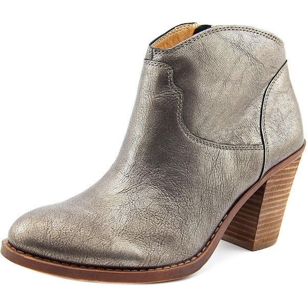 Lucky Brand Eller Women Round Toe Leather Silver Bootie