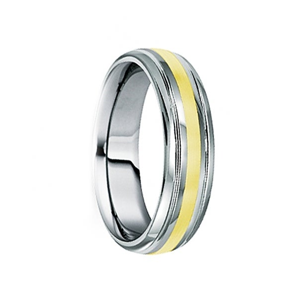 DUILIUS 18K Yellow Gold Inlaid Tungsten Carbide Ring with Dual Grooves by Crown Ring - 6mm