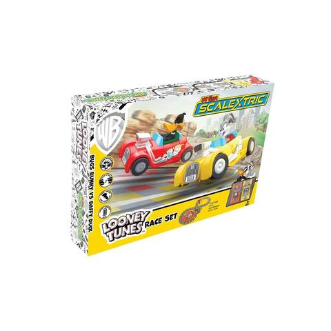 Micro Scalextric My First Looney Tunes Bugs Bunny vs Daffy Duck Battery Powered 1:64 Slot Car Race Track Set G1141T