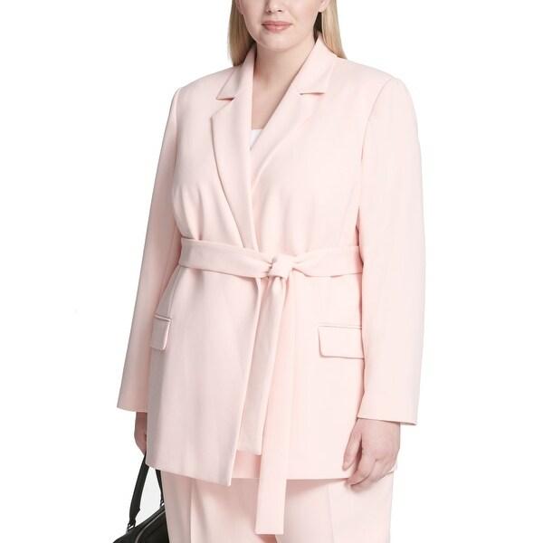 Calvin Klein Women Jacket Baby Pink Size 18W Plus Belted Notch Collar