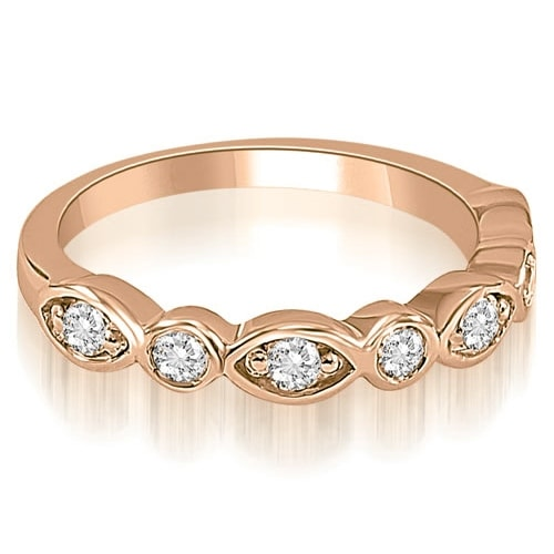 0.35 cttw. 14K Rose Gold Stylish Bezel Round Cut Diamond Wedding Ring