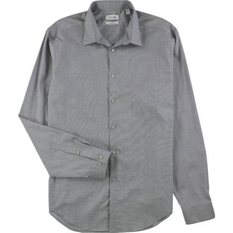 "Calvin Klein Mens Non-Iron Button Up Dress Shirt, grey, 17"" Neck 36""-37"" Sleeve - 17"" Neck 36""-37"" Sleeve"