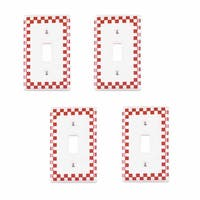 4 Switch Plate Red Porcelain Checkered Single Toggle