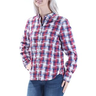 TOMMY HILFIGER Womens Red Plaid Cuffed Collared Button Up Top Petites Size: S